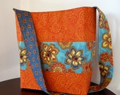 Handbag with Fall Colors - Orange Paisley and Contemporary Blue Floral