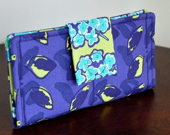 Ladies Wallet - Purple, Lime Green and Aqua - Fresh Fabrics for Summer