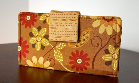 Wallet - Floral Fabric in Autumn Colors