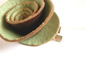 Hair Clip, Accessories, Leather, Flower, Green, Adult, Child, Painted Leather Rosette. TheApronThief on Etsy.