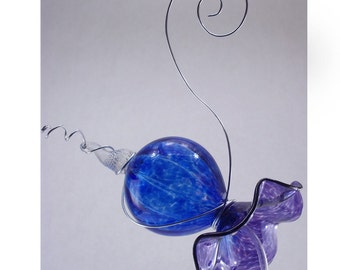 Blown Glass Hummingbird Feeder Purple and Cobalt Blue Free Shipping