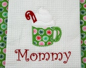 Christmas Personalized Towel Kitchen or Hand towel Applique Monogrammed Embroidered