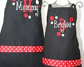 Personalized apron Mommy & Me Matching Black Red Apron Set with Polka Dots Layered Name and Initial