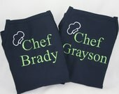 Matching Brother's Personalized Apron Set with Chef Hat Design - Embroidered Monogram 2 Boy Aprons