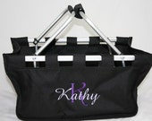 Black Personalized Market Tote Basket with Fancy Script Initial and Name