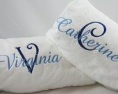 Monogrammed Bridesmaid Gift Velour Spa Wrap with Layered Name