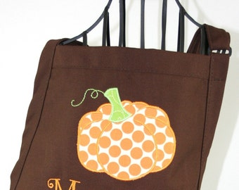 Personalized Pumpkin Apron Womens - Applique Monogram Embroidered