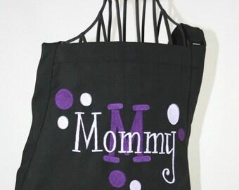 Personalized Womens Black Apron & Purple Polka Dots - Monogram Embroidered