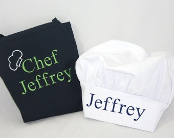 Child's apron chef hat Personalized set - Embroidered Monogrammed