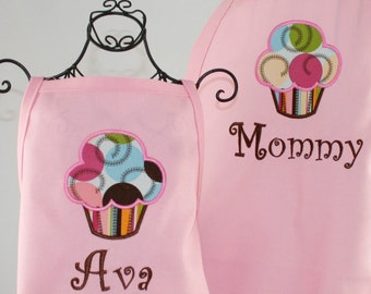 Mommy & Daughter Personalized Pink Rainbow Treat Cupcake Aprons