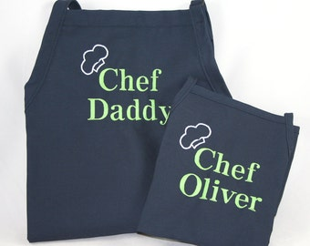 Matching aprons Personalized Father & Son Apron Set - Monogrammed Embroidered