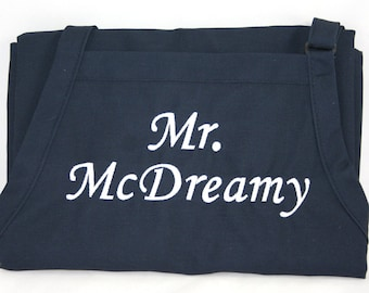 Mr. McDreamy Personalized Men's Apron Groom or Best Man Gift with Embroidery Monogram