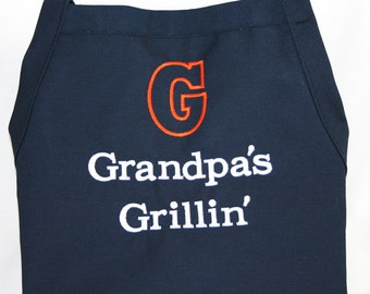 Personalized Grandpa's Grillin' Apron - Monogrammed Embroidered
