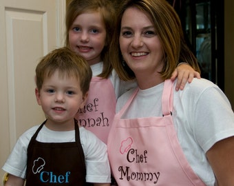 Personalized Mothers Day Gift aprons for Mom Son & Daughter 3 Apron Set - Monogrammed Embroidered