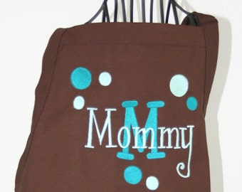 Personalized Women's Apron Aqua & Brown Polka Dots and Layered Name
