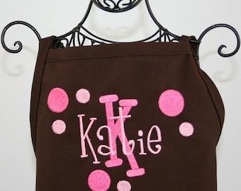 Personalized Apron Kids Pink Brown Polka Dot
