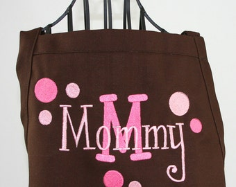 Personalized Apron Brown & Pink Women's Polka Dots and Layered Name
