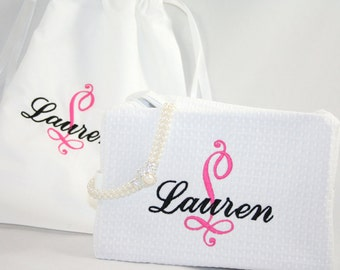 Bride Personalized Travel Gift Set Cosmetic & Lingerie bag