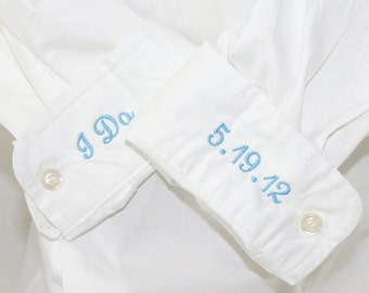 Something Blue Monogrammed Bride Shirt with I Do & Wedding Date on Cuffs