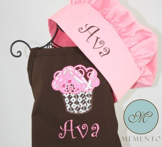 Child's Personalized Cupcake Apron with Hat Brown Set Polka Dot Ribbon - Embroidered Monogrammed