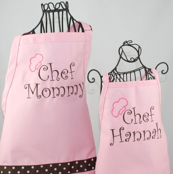 Mother Daughter Apron & Hat Gift Set Personalized Chef Mommy and Daughter Matching Pink Apron Hat Set