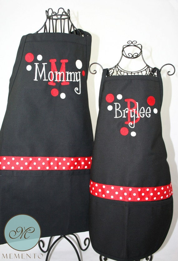 Personalized Apron Mommy & Me Matching Black Red Apron Set with Polka Dots Ribbon and Layered Name