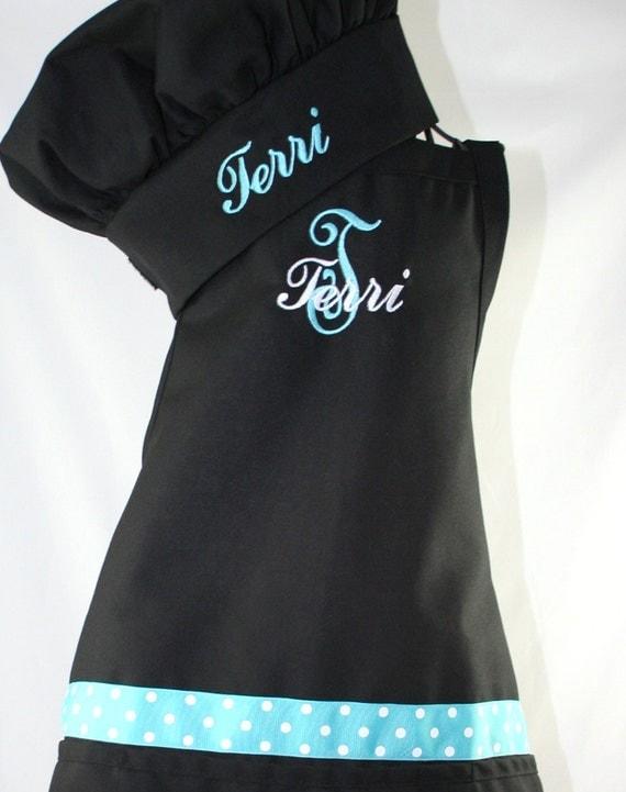 items similar to women u0026 39 s personalized apron  u0026 chef hat aqua and black on etsy