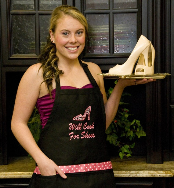 Personalized Ladies Apron Black Leopard Shoes Will Cook for Shoes - Monogram Embroidered