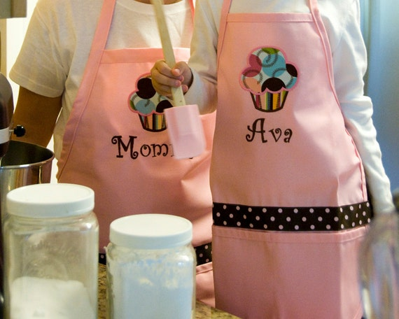 Personalized Mothers Day Apron Cupcake Pink matching Set Polka Dot Embroidered - Monogrammed