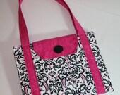 Handmade iPad Case, Fabric iPad bag, iPad cover, iPad 1 Case, iPad 2 case, iPad 3 case, iPad Original, Custom iPad, Black & Pink Damask
