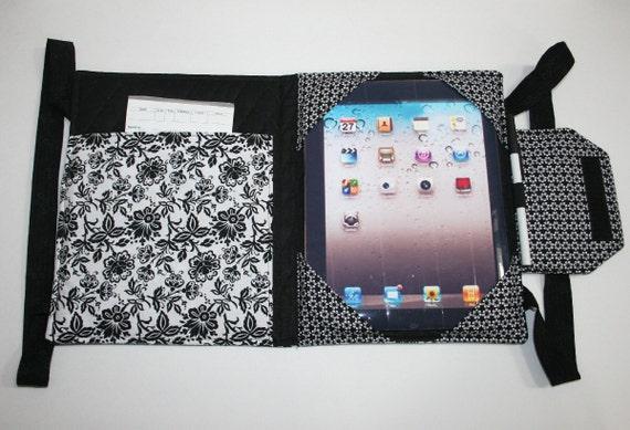 Ipad case, Handmade Fabric iPad bag, iPad cover, iPad 1 Case, iPad 2 case, iPad 3 case, iPad Original case, Custom iPad, Black & White