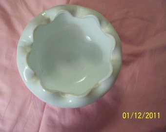 White Bowl with Scalloped Edges and Side Design