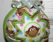 Monkey Business fabric Quilted Ornament Ball