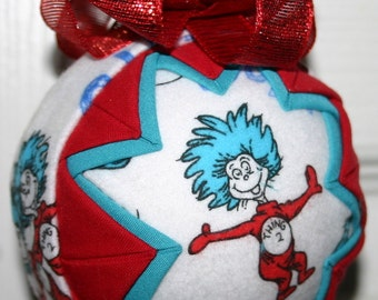 Dr Seuss Thing 1 and Thing 2 Cat In Hat Ornament-- after christmas sale!!