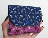 Blue Umbrellas and Purple Triangles Card Wallet with Zipper