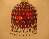 Red and Green Princess Seed Bead Ornament