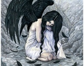 Broken Halo PRINT Fallen Angel Sorrow Sad Fantasy Art Watercolor 3 SIZES