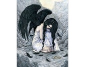 Broken Halo ACEO Print gothic Angel clouds Black Wings Feathers Artist Trading Cards ATC Fantasy Art