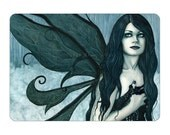Waterfall Mist ACEO print Artist Trading Cards ATC Fairy Fae Fantasy Art Teal Blue Green Wings Portrait