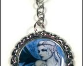 Gothic Fairy KEYCHAIN Blue Black Tiara Art Painting