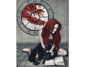 Spellbook ACEO print Witch Gothic Black Cat Autumn Artist Trading Cards ATC Fantasy Art Spells