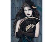 Steampunk Assassin ACEO print Artist Trading Cards ATC Fantasy Art Portrait Blood Victorian Corset Gears Fan