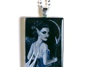Queen of the Dark Hunt Glass Tile Pendant --CLEARANCE--