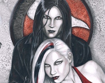 Dark Temptation ORIGINAL Painting - Gothic Vampire Art
