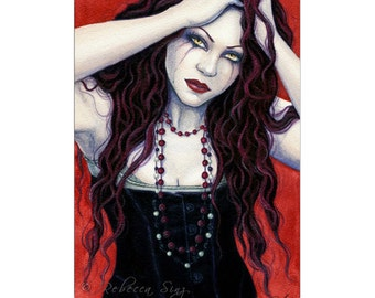 Chaos ACEO Print Red Angry Corset Hair Gothic Fantasy Art Portrait