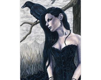 Nevermore ACEO Print Artist Trading Cards ATC crow raven bird Gothic Dark Corset Fantasy Art Portrait