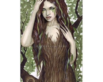 Hamadryad ACEO Print Artist Trading Cards ATC Fantasy Art Dryad Tree Nymph