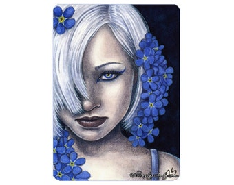 Forget-Me-Not Limited Edition ACEO Print Artist Trading Cards ATC Blue Flowers Fantasy Art Portrait -- Garden Series