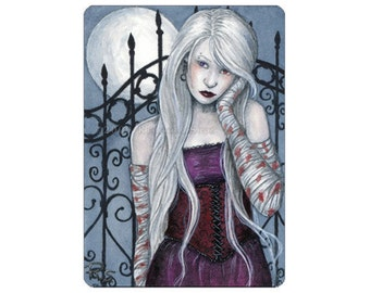 Fanhir Limited Edition ACEO Print Artist Trading Cards ATC Fantasy Art Albino Gothic Moon Night