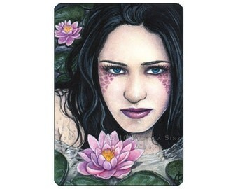 Lotus Limited Edition ACEO Print Artist Trading Cards ATC Fantasy Art Mermaid Water Lily pad Portrait  -- Garden Series
